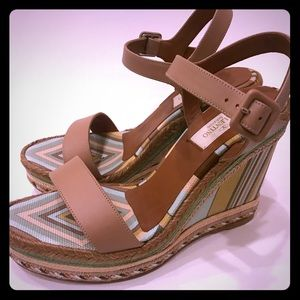 Valentino tan stripe wedge sandals size 37 NWT!!!